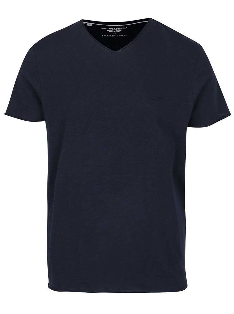 Tmavě modré basic triko Selected Homme Abraw
