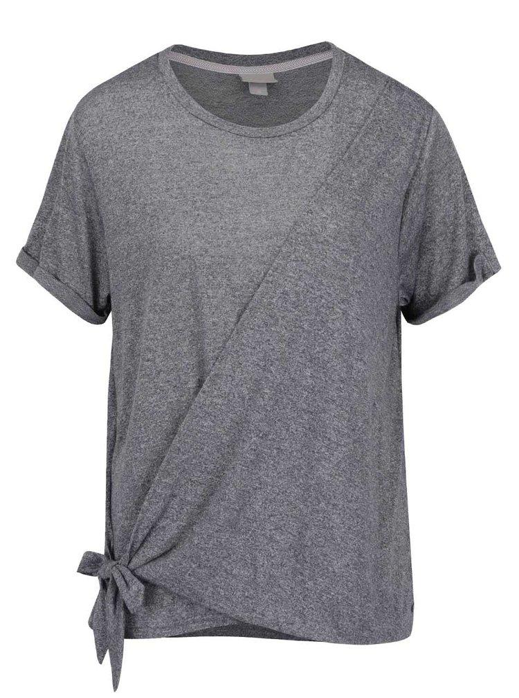 Šedé žíhané tričko s uzlem Bench