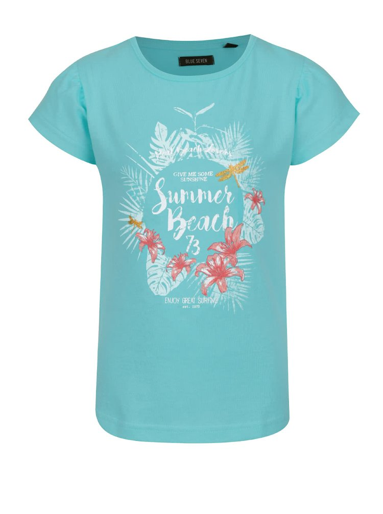Tyrkysové holčičí tričko s potiskem Blue Seven