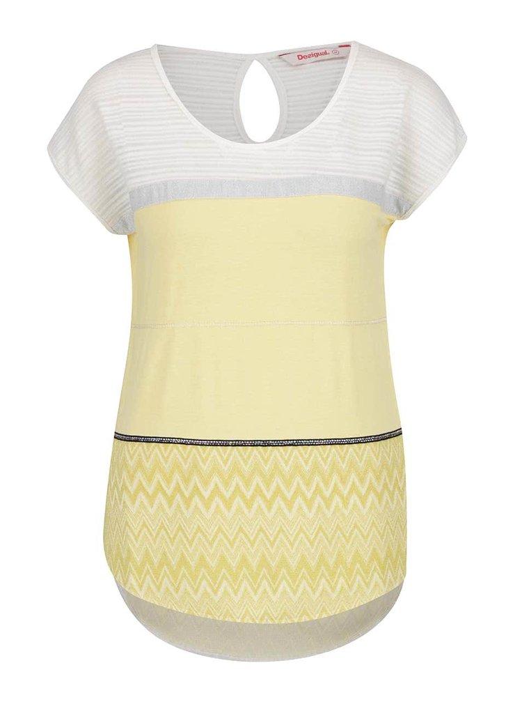 Bílo-žlutý top s krátkými rukávy Desigual Mire