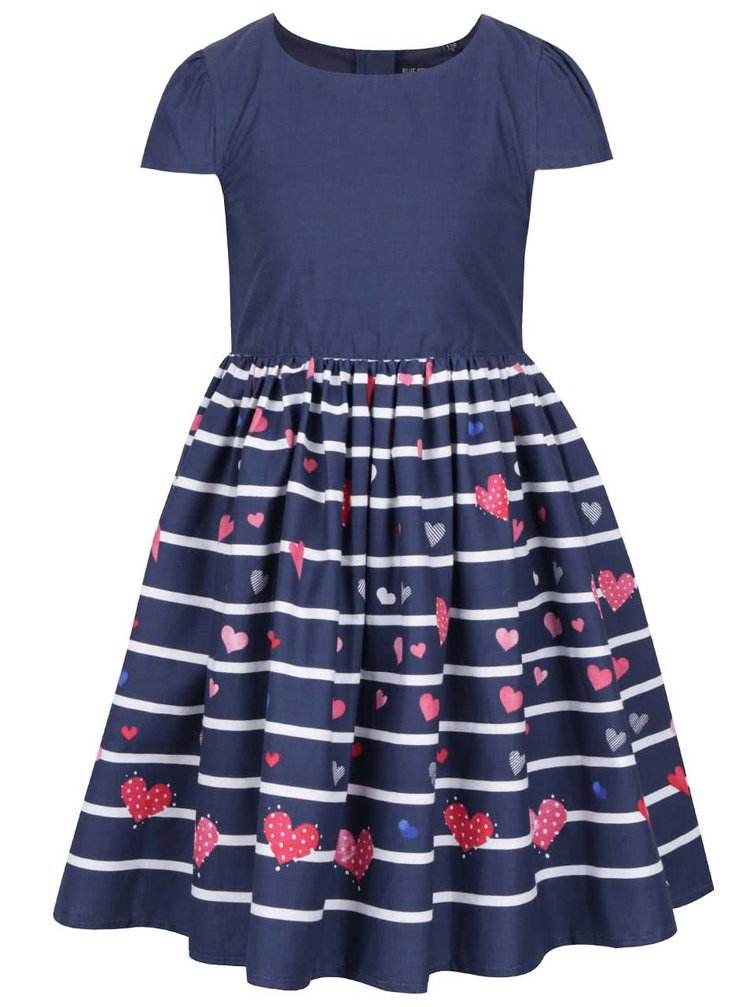 Tmavě modré holčičí pruhované šaty s motivem srdcí Blue Seven
