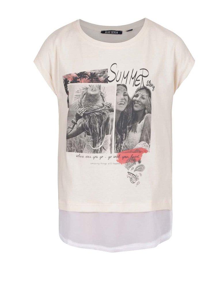 Krémové holčičí tričko s všitou halenkou a rozparkem na zádech Blue Seven
