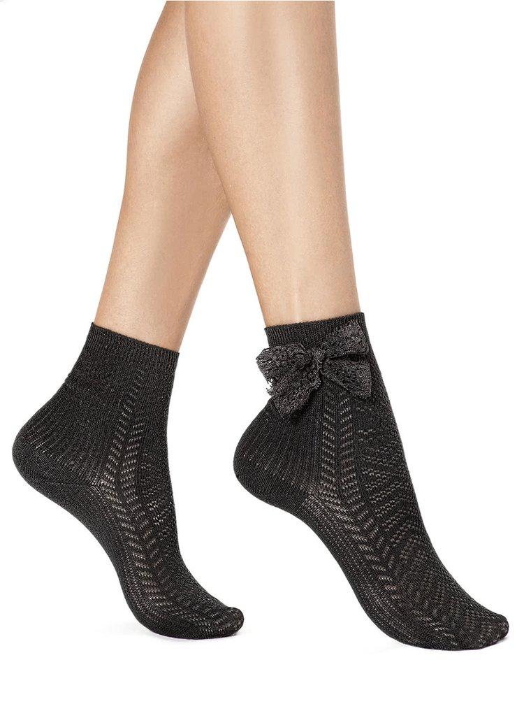 Șosete negre Oroblu Funny cu fundă decorativă