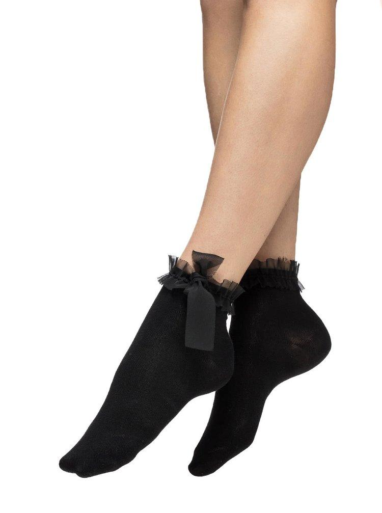 Șosete negre Oroblu Adorable cu panglici decorative