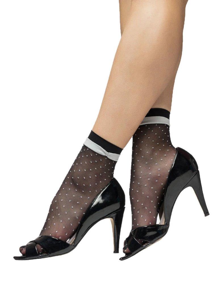 Černé puntíkované silonkové ponožky Oroblu Valerie