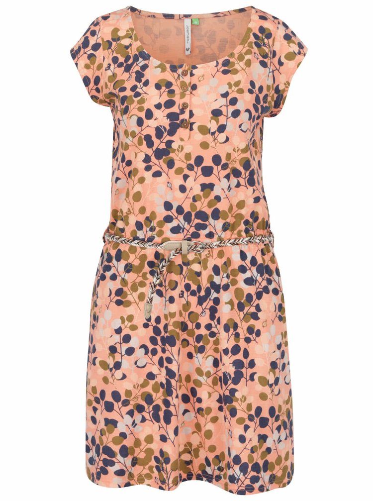 Oranžové šaty s potiskem a páskem Ragwear Zephie B Organic