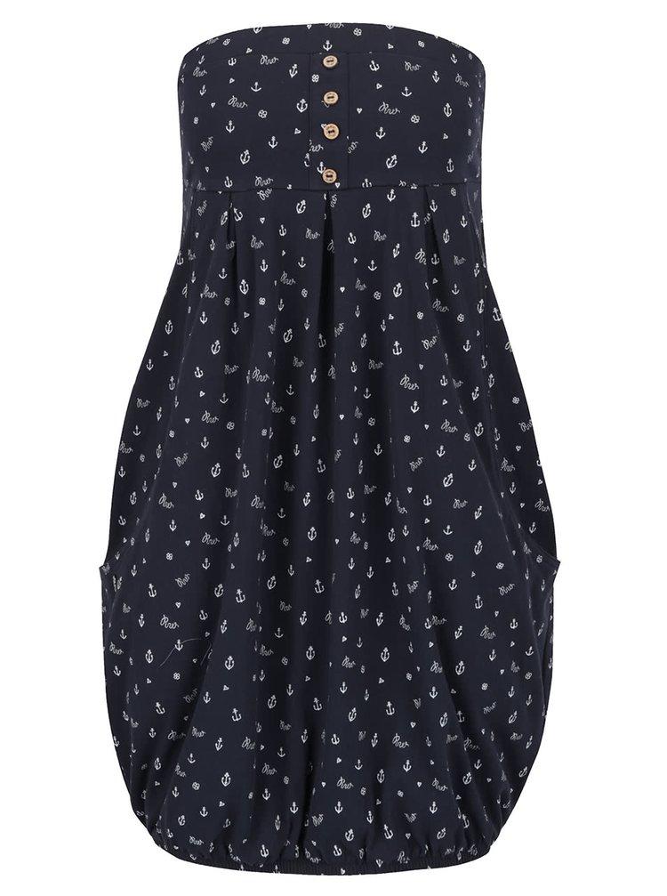 Tmavě modré vzorované šaty bez ramínek Ragwear Scene