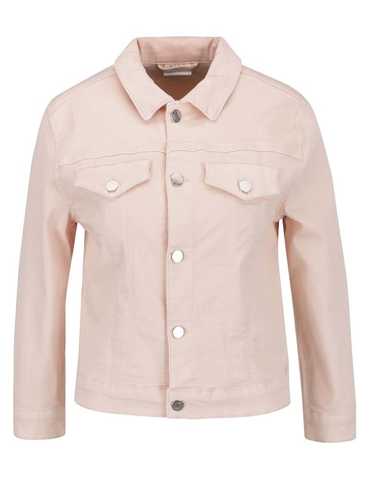 Jachetă roz pal Vila Birkin din denim
