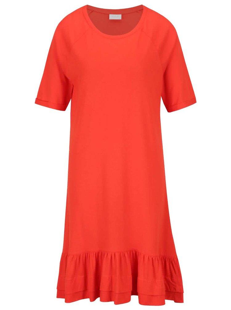 Červené volné šaty s volánem a delším rukávem VILA Marisa