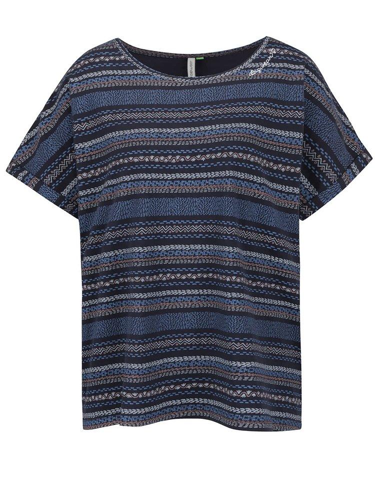 Tricou supradimensionat albastru închis Ragwear Tribe A Organic din bumbac organic cu model