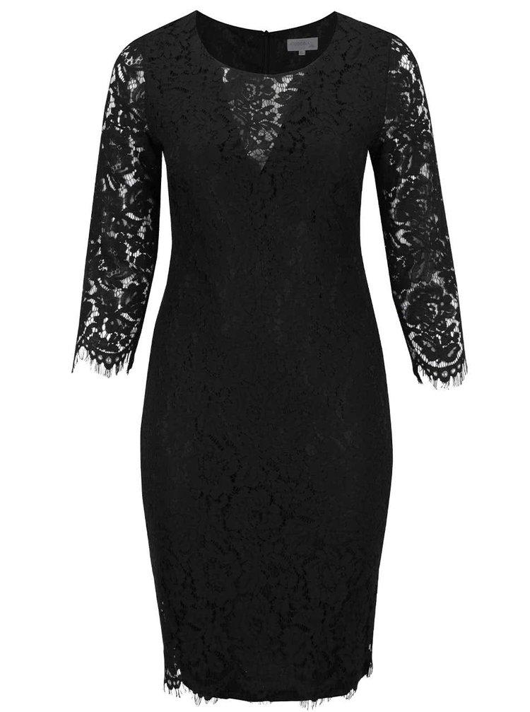 Rochie neagră din dantelă Goddiva cu mâneci lungi