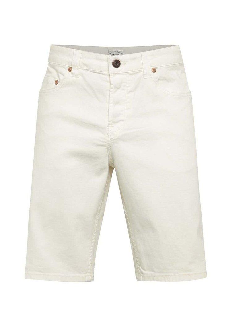 Pantaloni scurți crem ONLY & SONS Loom din denim cu croi drept