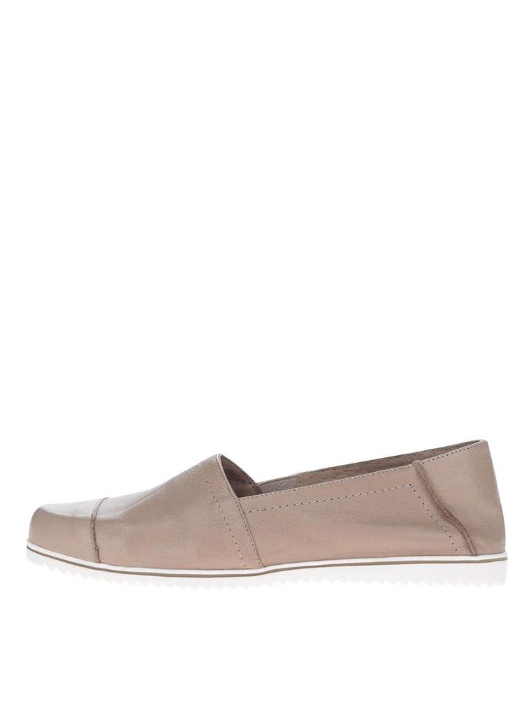 Béžové dámské kožené loafers OJJU