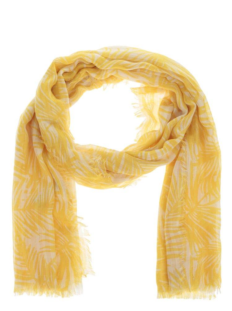 Žlutý dlouhý vzorovaný šátek Pieces Simba