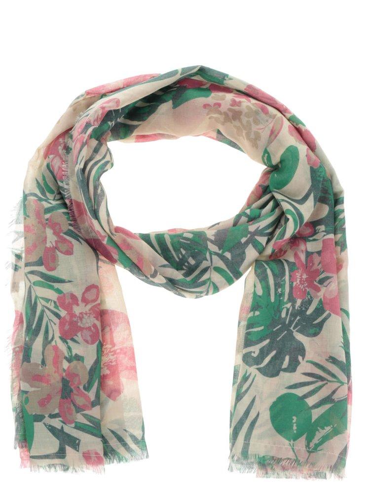 Růžovo-zelený dlouhý vzorovaný šátek Pieces Simba