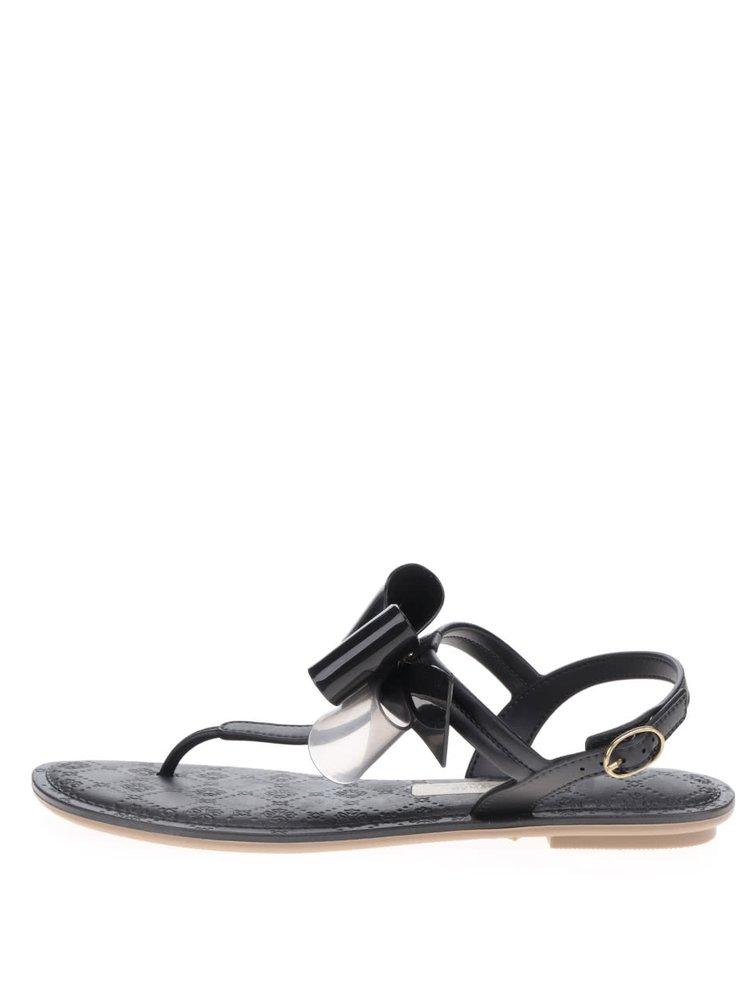 Sandale negre Grendha cu fundă decorativă și detaliu auriu