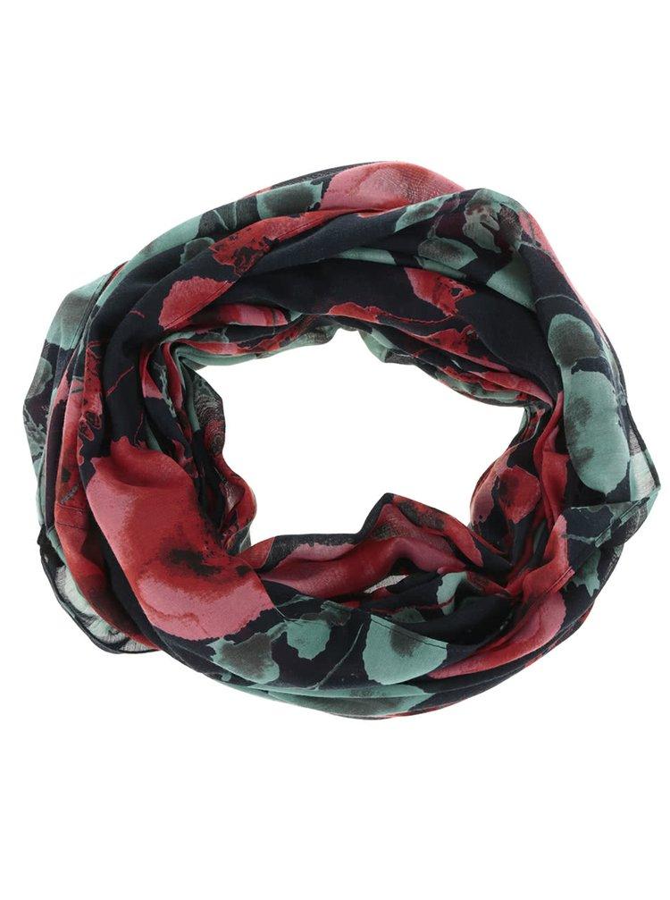 Tmavě modrý květovaný dutý šátek Pieces Jemi
