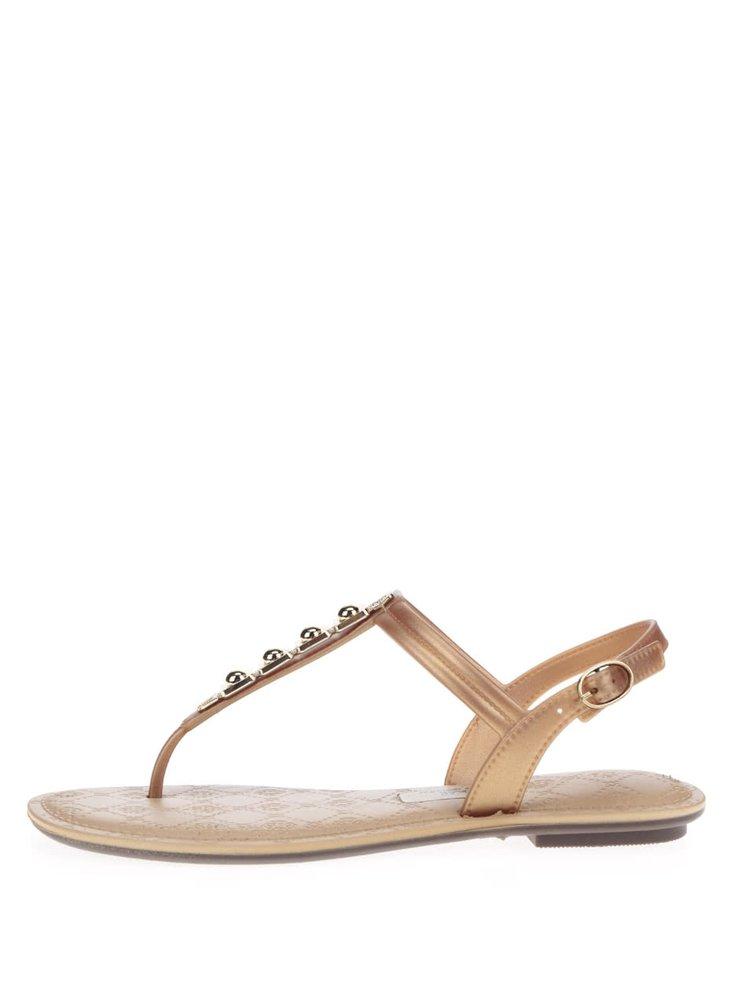 Sandale de culoarea bronzului Grendha cu detaliu auriu
