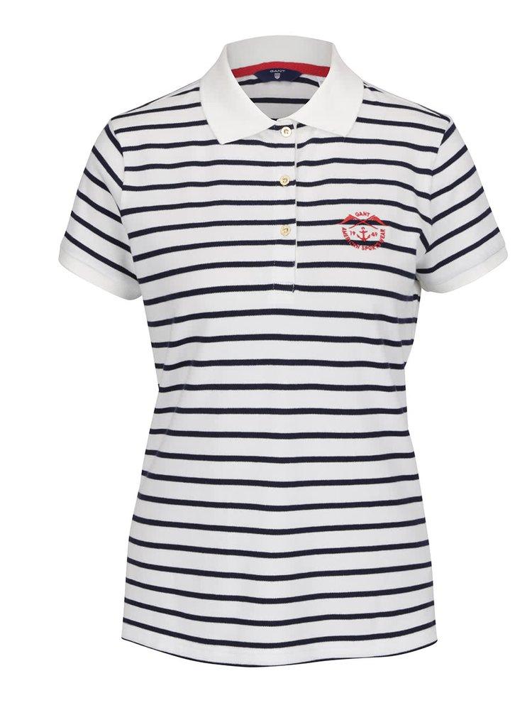 Bílé dámské pruhované polo tričko GANT Pique