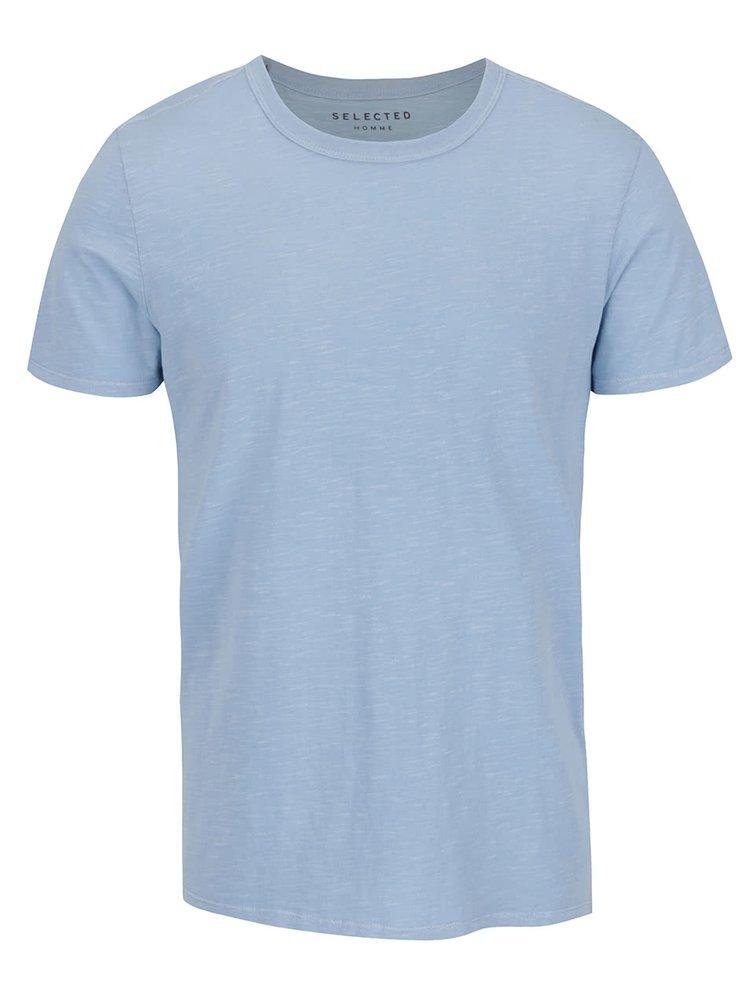 Tricou albastru deschis Selected Homme Ben din bumbac cu croi drept