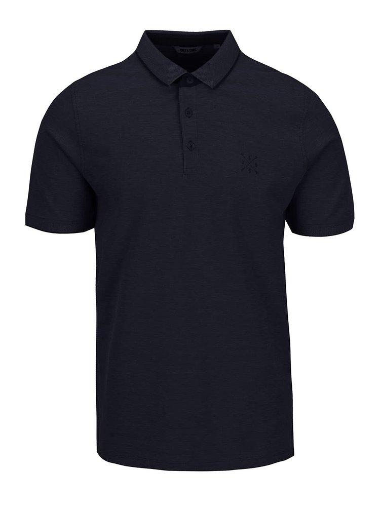 Tricou polo bleumarin ONLY & SONS Stan din bumbac cu logo