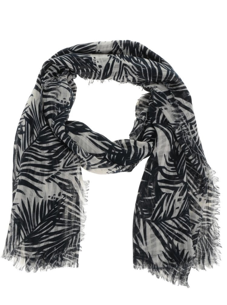 Krémovo-modrý dlouhý vzorovaný šátek Pieces Simba