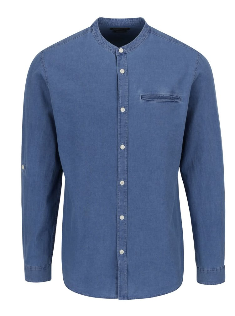 Cămașă albastră Jack & Jones Benny slim fit din denim cu guler tunică