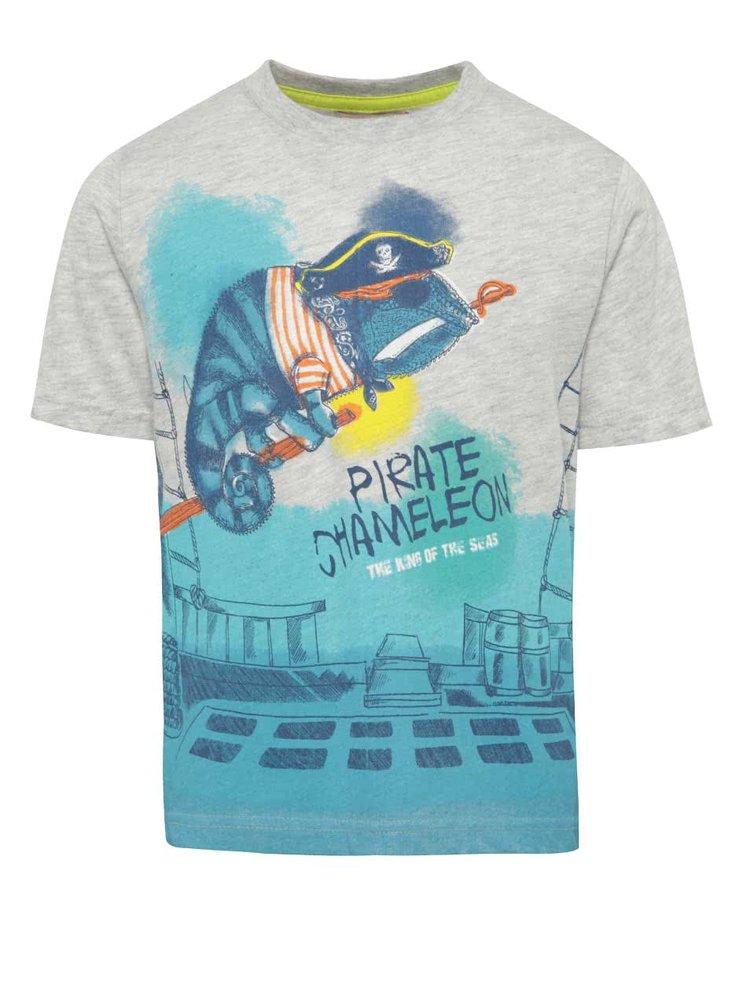 Tricou turcoaz & gri melanj Bóboli cu print pentru băieți