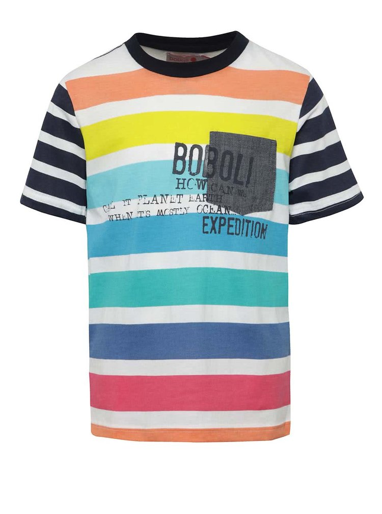 Modro-bílé pruhované klučičí tričko Bóboli