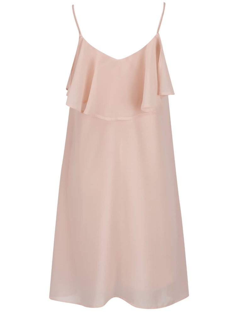 Světle růžové lehké šaty s volánem VERO MODA Tyler