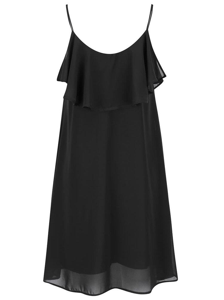 Černé lehké šaty s volánem VERO MODA Tyler