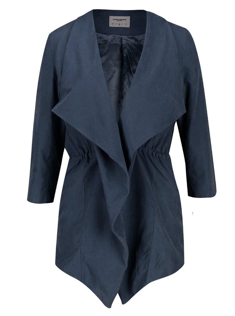 Tmavě modrý krátký lehký kabát s 3/4 rukávy VERO MODA Kacy