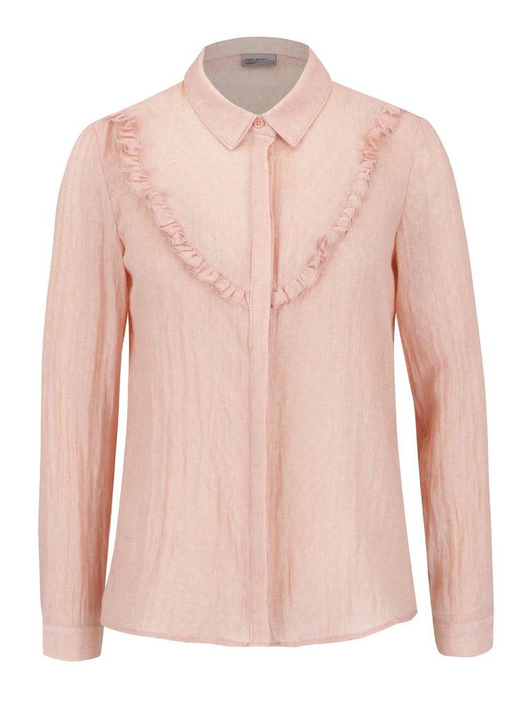 Růžová košile s volánky VERO MODA Jaquari