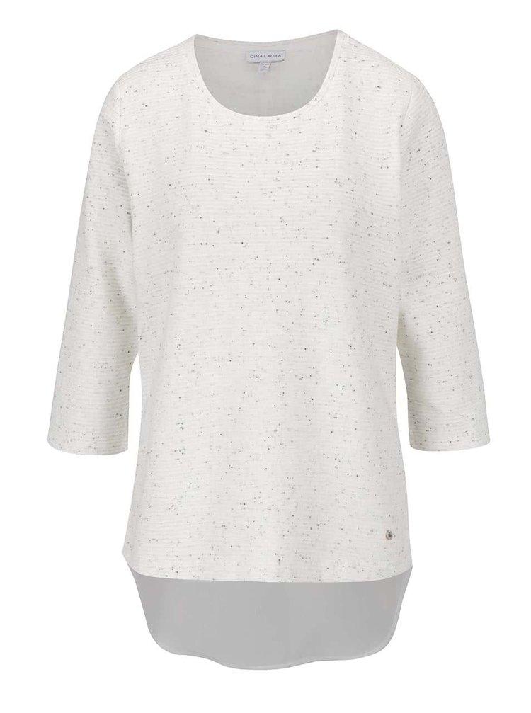 Bluză crem melanj Gina Laura cu aplicație din voal