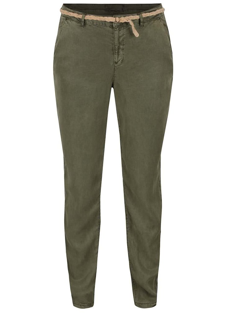 Zelené kalhoty s páskem VERO MODA Zoe