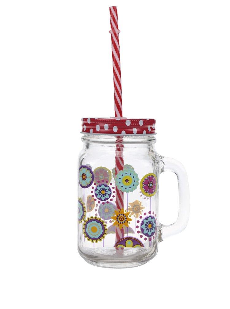 Cană cu flori, capac roșu cu buline și pai Dakls din sticlă