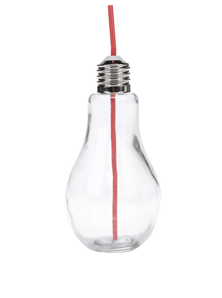 Velká sklenice s červeným brčekm ve tvaru žárovky Dakls