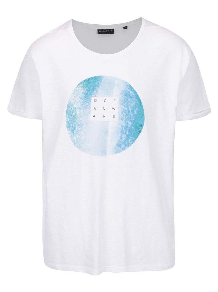 Pánské bílé triko s kulatým potiskem Broadway Enea