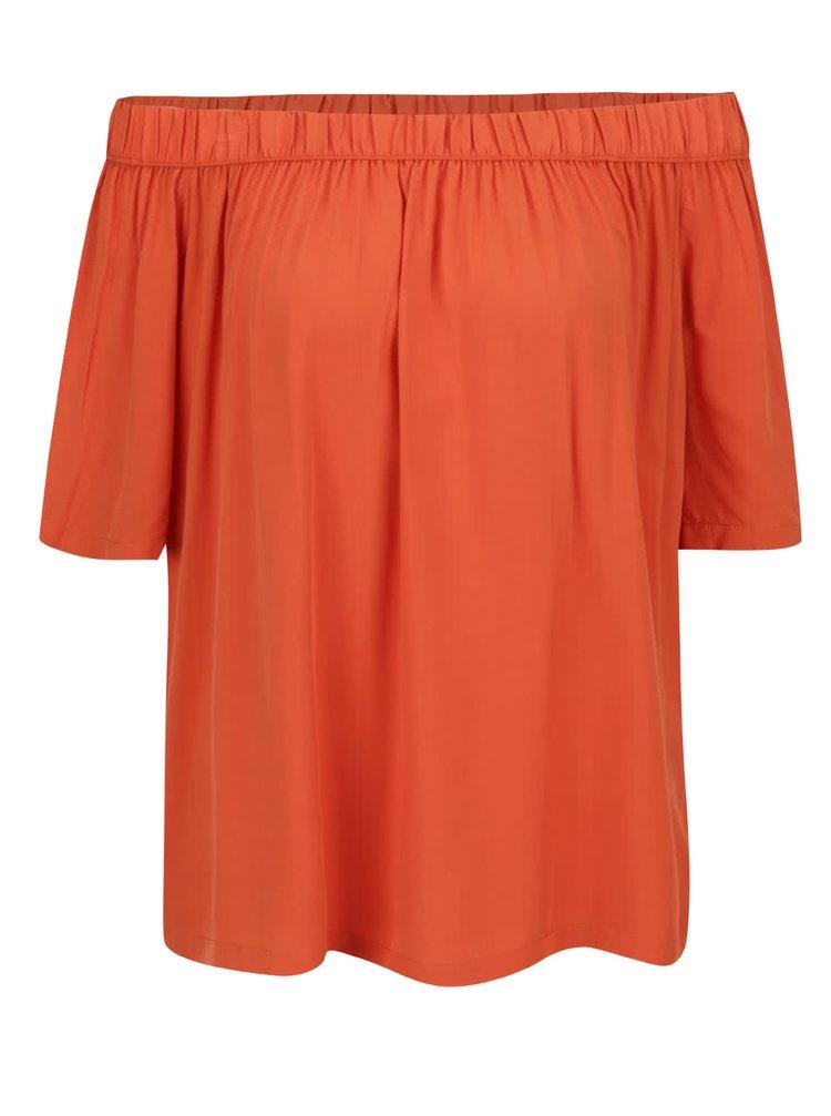 Bluză portocalie Broadway Eos cu decolteu pe umeri