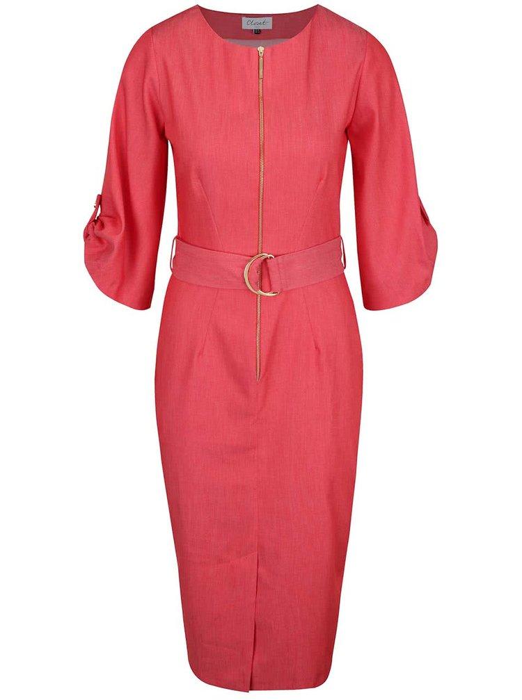 Červené šaty se zipem a páskem Closet
