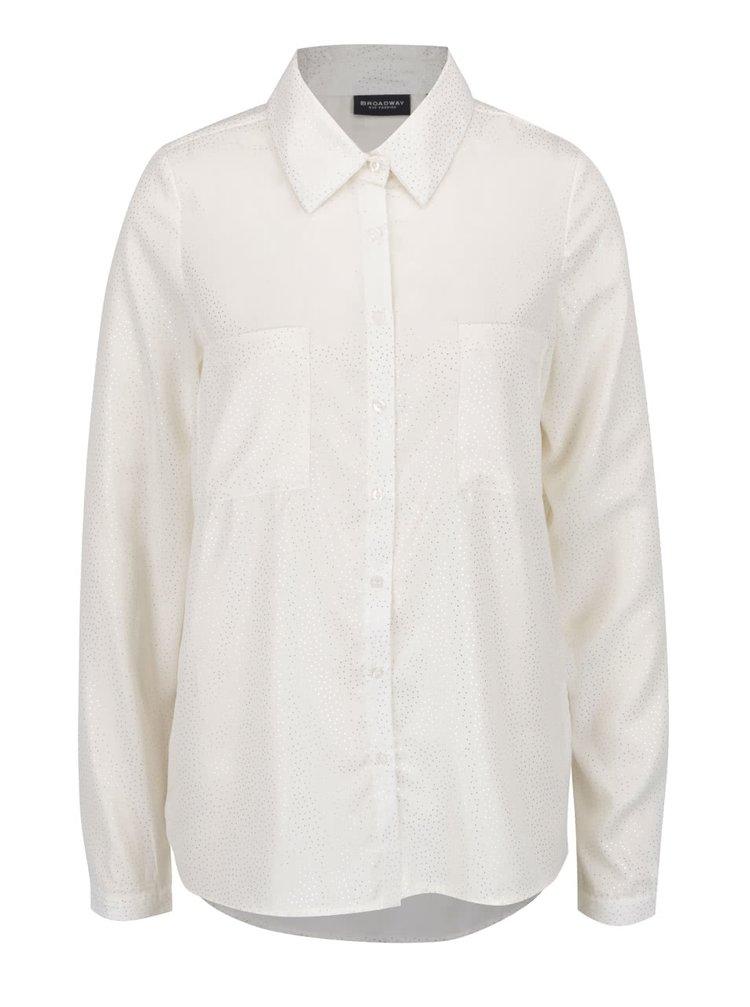 Krémová dámská puntíkovaná košile s dlouhým rukávem Broadway Doris