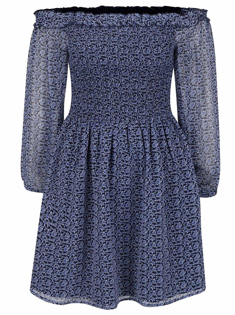 Modré květované šaty s odhalenými rameny Miss Selfridge