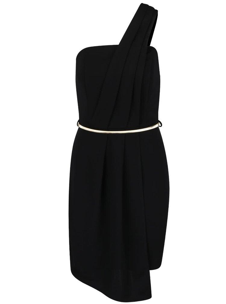 Černé šaty přes jedno rameno s páskem ve zlaté barvě Miss Selfridge