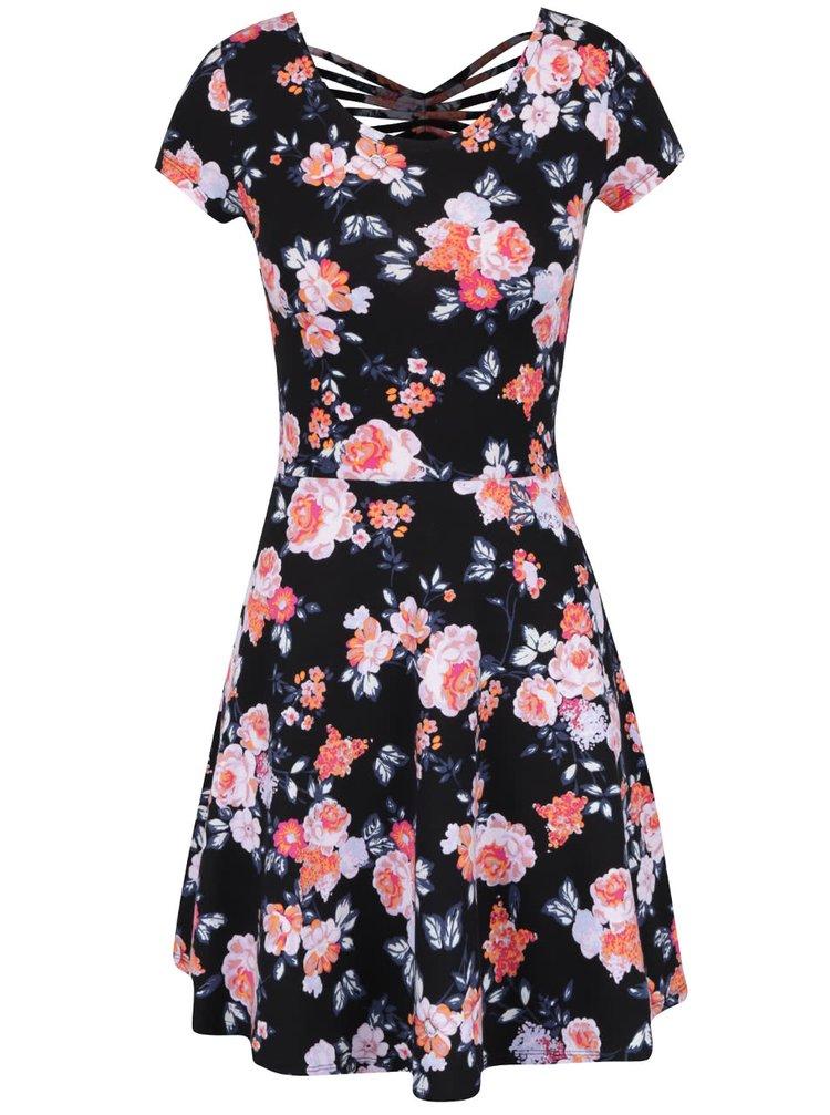 Černé květované šaty s pásky na zádech TALLY WEiJL