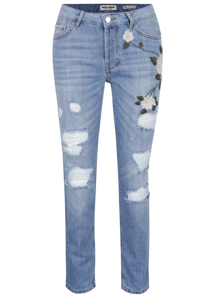Tmavě modré džíny s výšivkou TALLY WEiJL