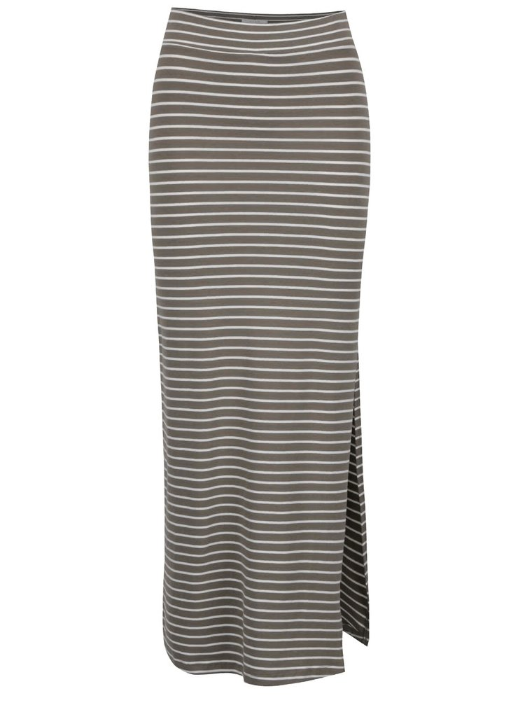 Kaki pruhovaná maxi sukňa s rozparkom VILA Honesty