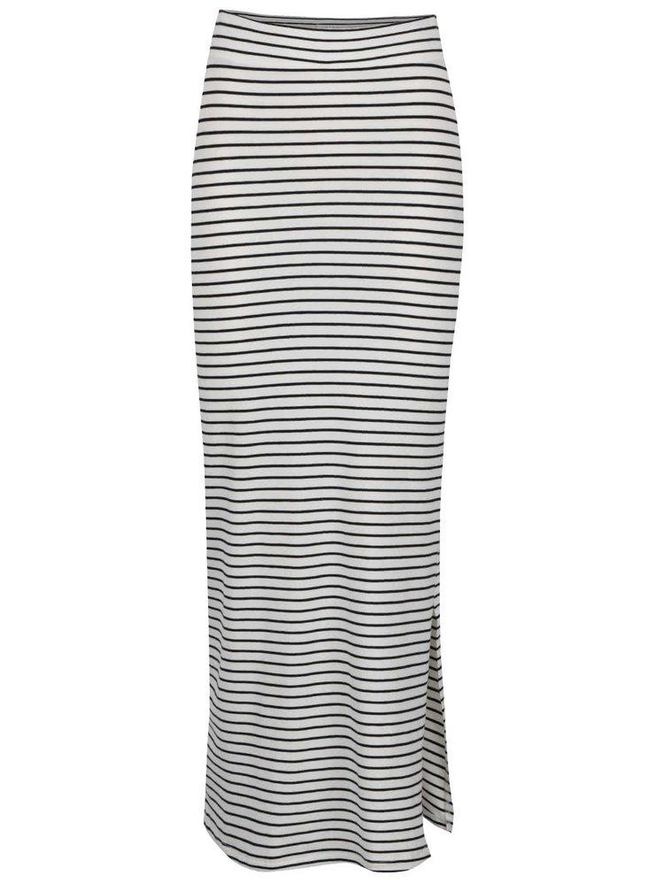 Krémovo-čierna pruhovaná maxi sukňa s rozparkom VILA Honesty