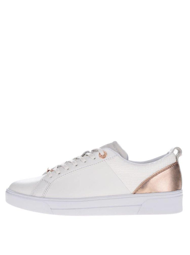 Pantofi sport albi din piele Ted Baker Kulei cu detaliu auriu rose