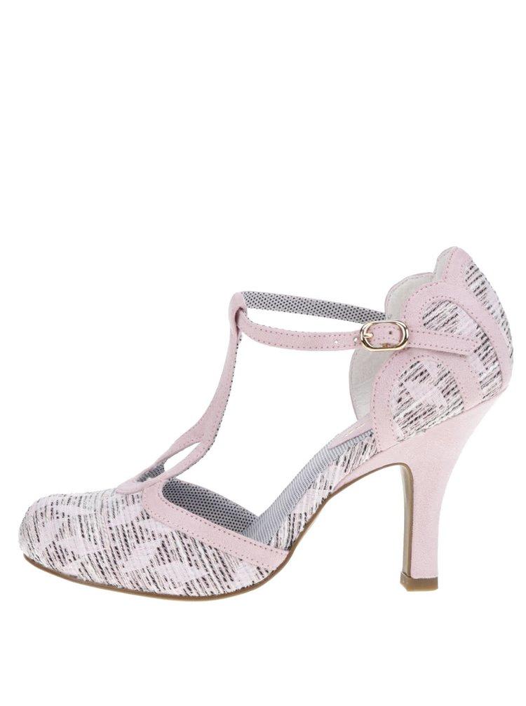 Pantofi roz cu toc Ruby Shoo Polly cu detalii din piele întoarsă