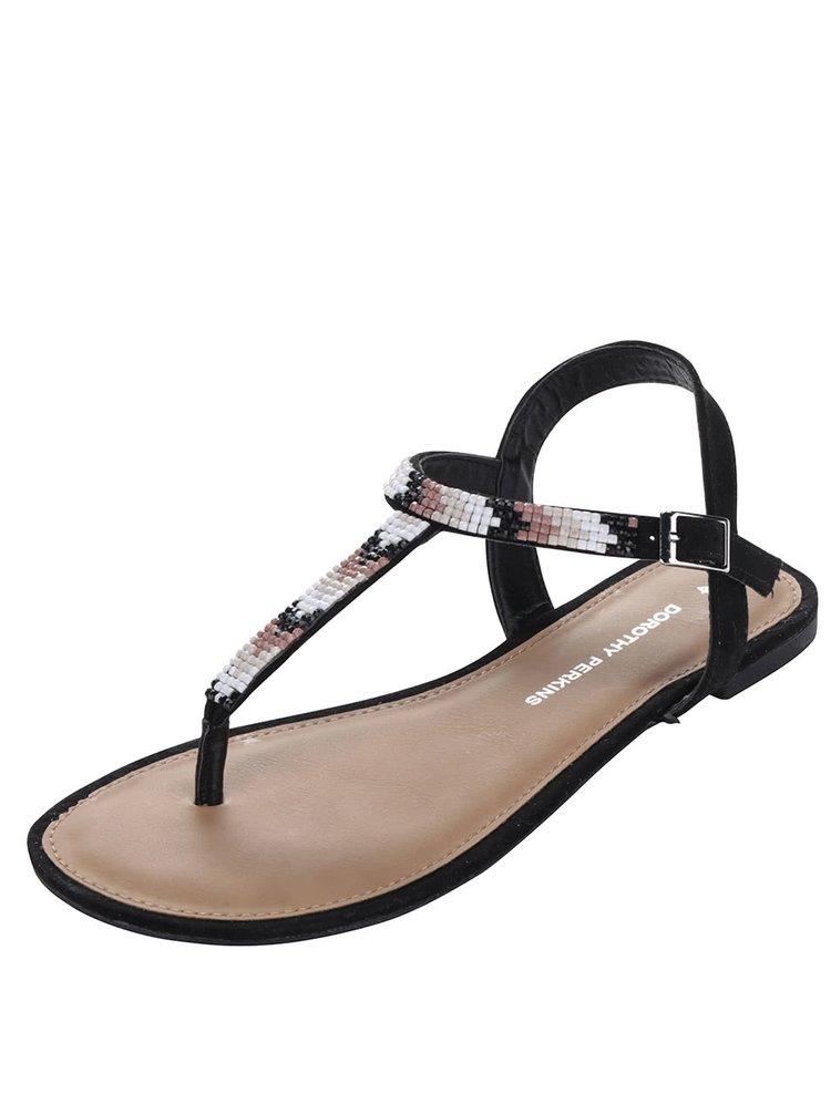 Sandale negre Dorothy Perkins cu aplicație din mărgele